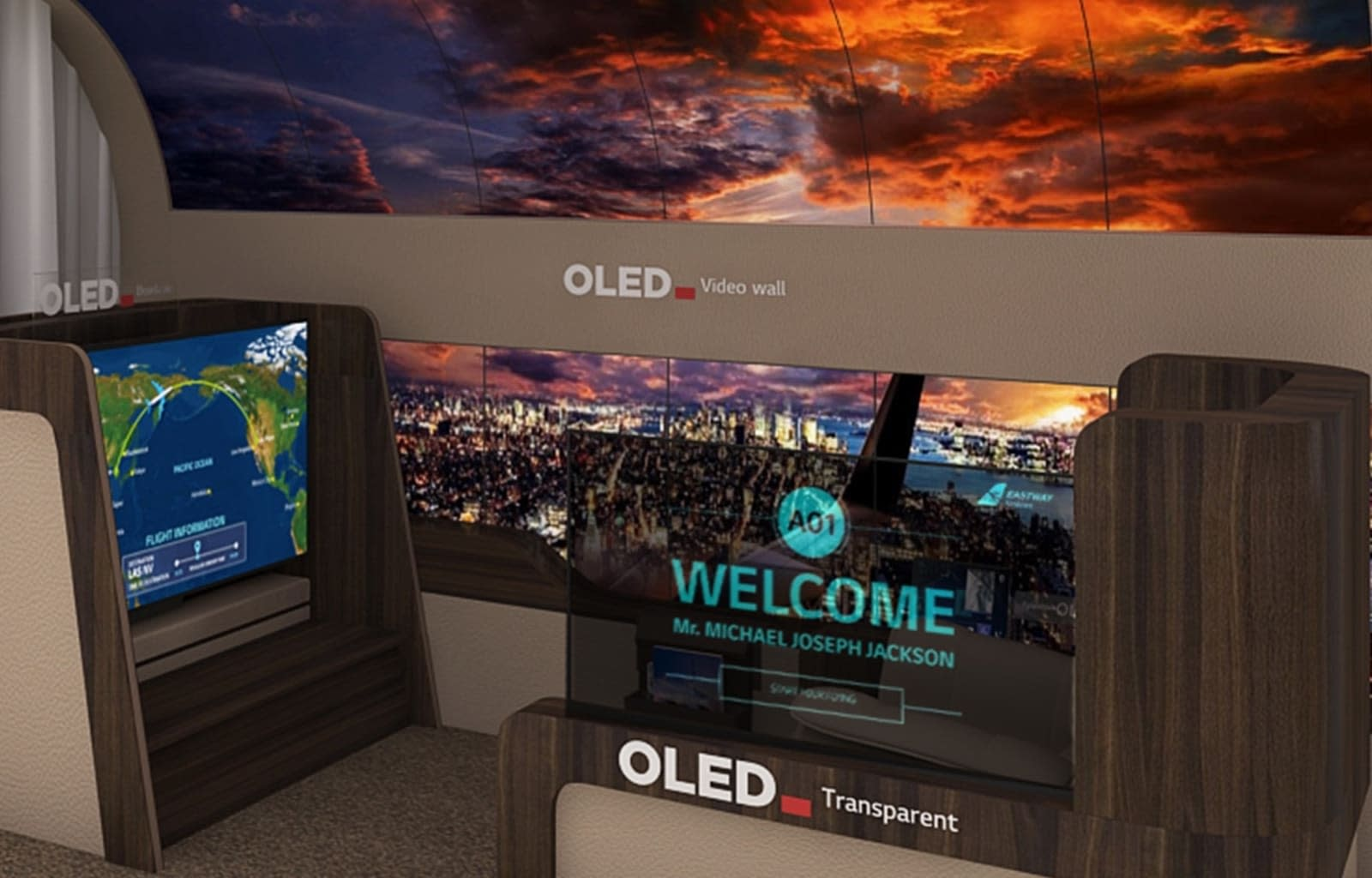 LG airplane displays for CES 2020