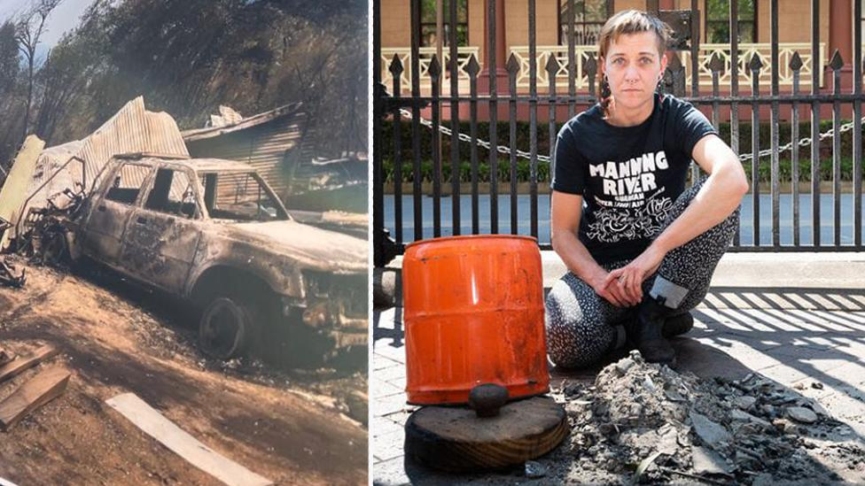 Furious bushfire victims dump ashes of ravaged home outside NSW Parliament
