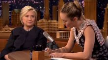 Miley Cyrus cries as she and female writers give Hillary Clinton thank-you notes on 'The Tonight Show'