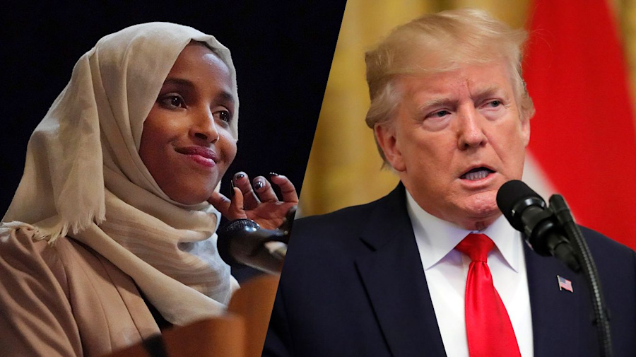 Trump fumes at Ilhan Omar's 'tiny staged crowd'