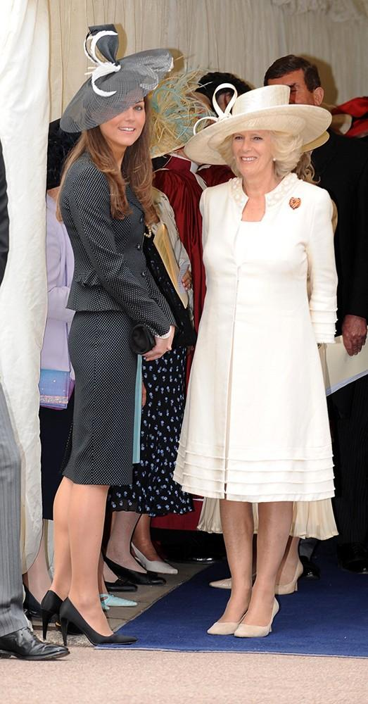 Kate attended the Most Noble Order of the Garter service, standing with Camilla, Duchess of Cornwall in contrasting black and white.