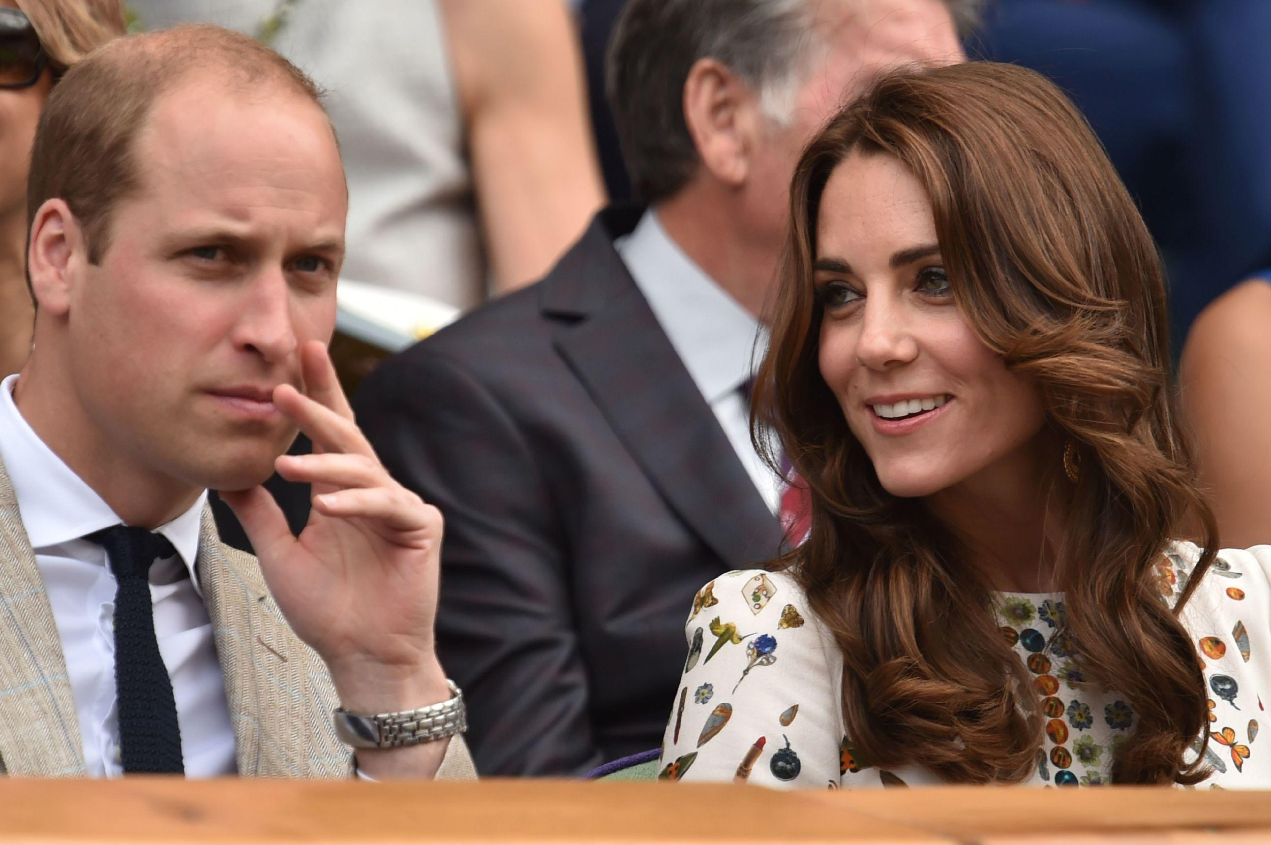Duke and Duchess of Cambridge in the royal box on centre court.