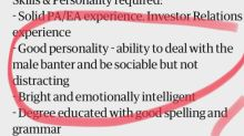 Job Advert Slammed For Saying Candidates Must Have 'Ability To Deal With Male Banter'