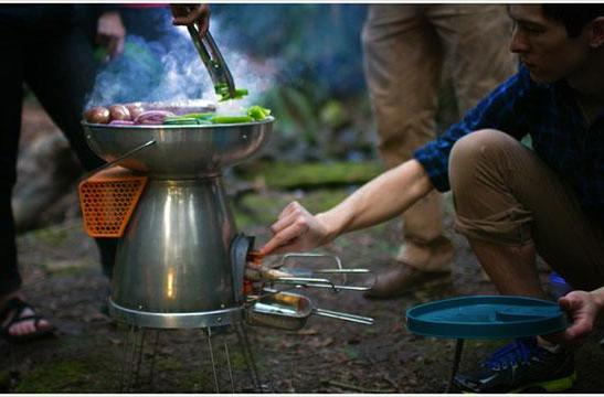 Generate power to recharge gadgets while grilling with this camp stove