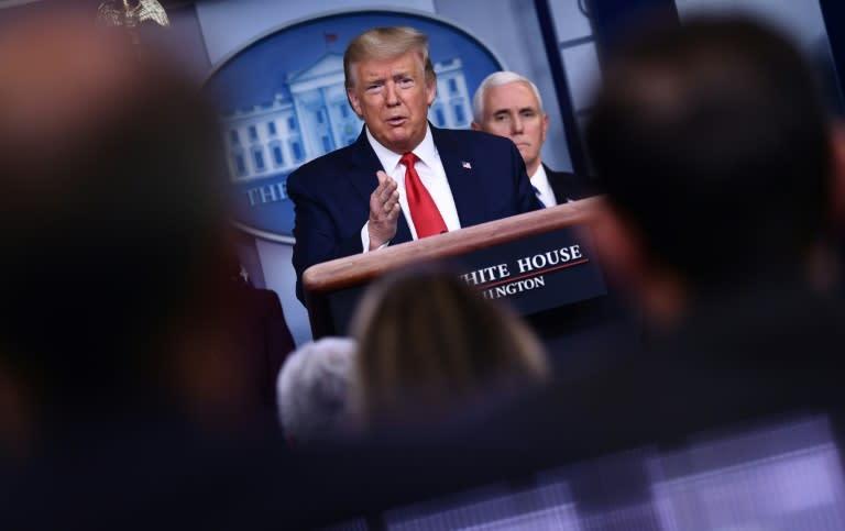 US President Donald Trump said the economy will come back once the coronavirus is defeated (AFP Photo/Brendan Smialowski)