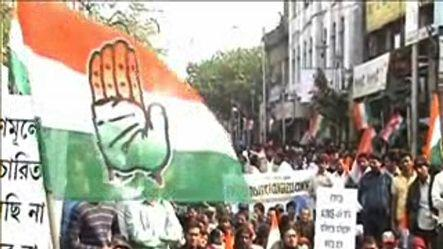 Congress protests against government in Kolkata