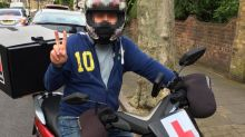 Moped muggers 'hacked at delivery biker's foot with hunting knife'
