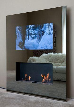 Safretti's back with Double Vision hanging HDTV / fireplace combo
