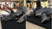 日本地下街超像真「恐龍」擺設 橫攤地面極震憾