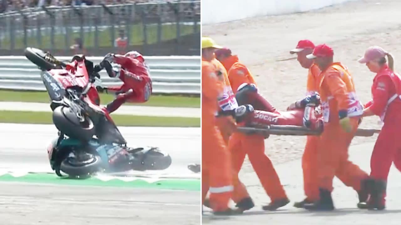 Italian star hospitalised after frightening MotoGP crash