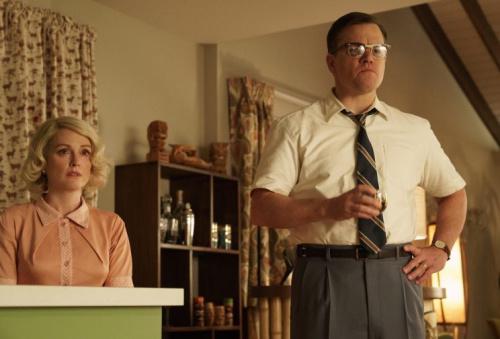 Julianne Moore as Margaret Lodge and Matt Damon as Gardner Lodge in Suburbicon