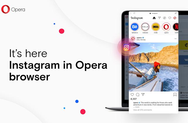 Opera's desktop browser now includes quick access to Instagram