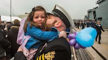 Touching moment five-year-old girl is reuinted with her sailor father after six months