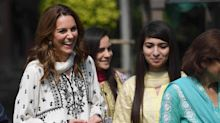 Duchess of Cambridge returns to children's orphanage in Pakistan after flight was grounded in storm