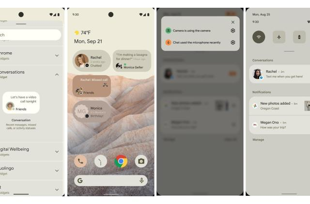 Alleged Android 12 screenshots show a privacy indicator and conversation widget