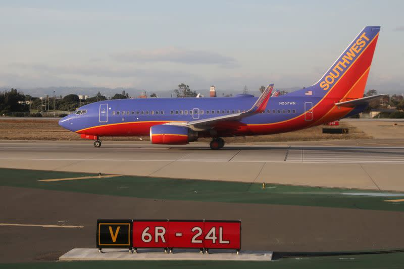 FILE PHOTO: A Southwest Airlines Boeing 737 plane sits on the runway waiting to take off at LAX airport in Los Angeles