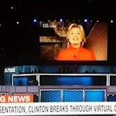 """Hillary Clinton Appears As Giant Talking Head After Shattering Glass """"Ceiling"""" To Wrap DNC Day 2"""