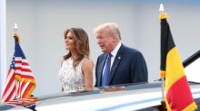Melania Trump Wore a Dark Blue Belted Dress While Visiting the Memorial Where Flight 93 Crashed
