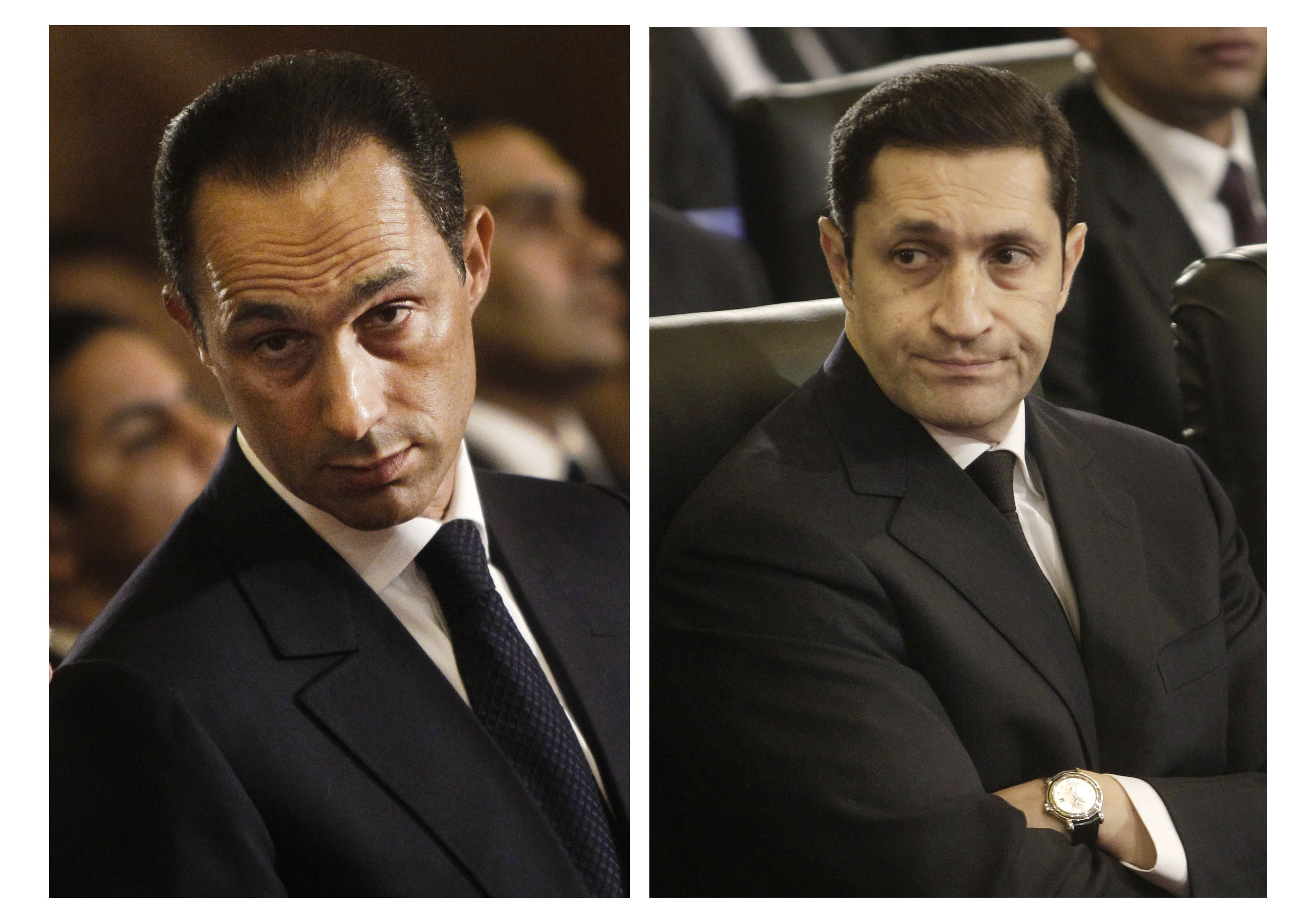 FILE - This combination of Jan. 6, 2011 file images shows Gamal Mubarak, left, and Alaa Mubarak, right, attending a Christmas Eve Mass at the Coptic cathedral in Cairo, Egypt. An Egyptian court on Thursday, Sept. 20, 2018 ordered the release from detention of former president Hosni Mubarak's two sons who are on trial on insider trading charges. (AP Photo/File)