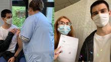 """Fátima Bernardes mostra filho vacinado contra a Covid-19 na França: """"Que alegria"""""""