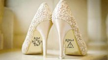 These Harry Potter wedding shoe stickers are cute