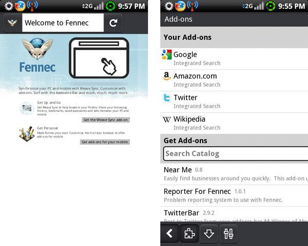 Firefox for Mobile (Fennec) escapes in a rough Android port