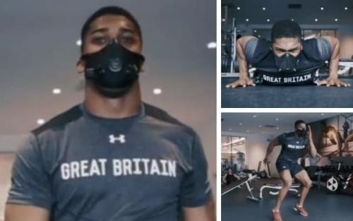 Anthony Joshua trains in an altitude mask ahead of his April 29 fight with Ukrainian heavyweight Wladimir Klitschko - @anthony_joshua/Instagram