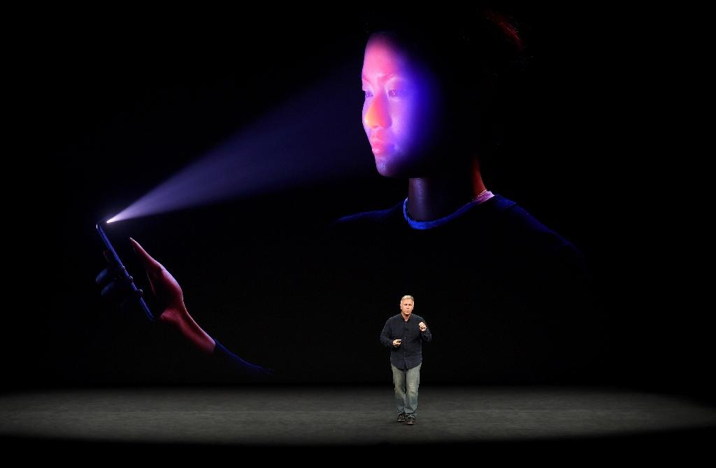 Apple senior vice president Philip Schiller shows the FaceID system which is being used on new iPhone X, allowing a user to unlock the device with a scan of the face (AFP Photo/Josh Edelson)
