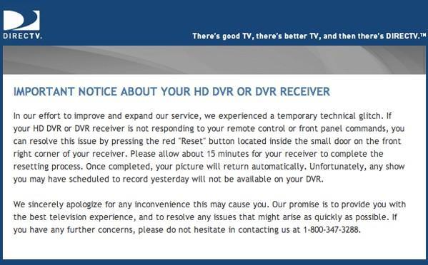DirecTV confirms HD DVR / receiver glitch, apologizes profusely