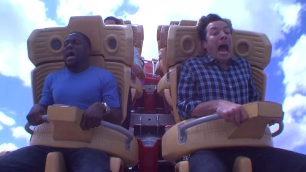 Jimmy Fallon and Kevin Hart face their fear Of roller coasters
