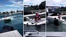 School principal attacks man with oar in viral boat rage incident