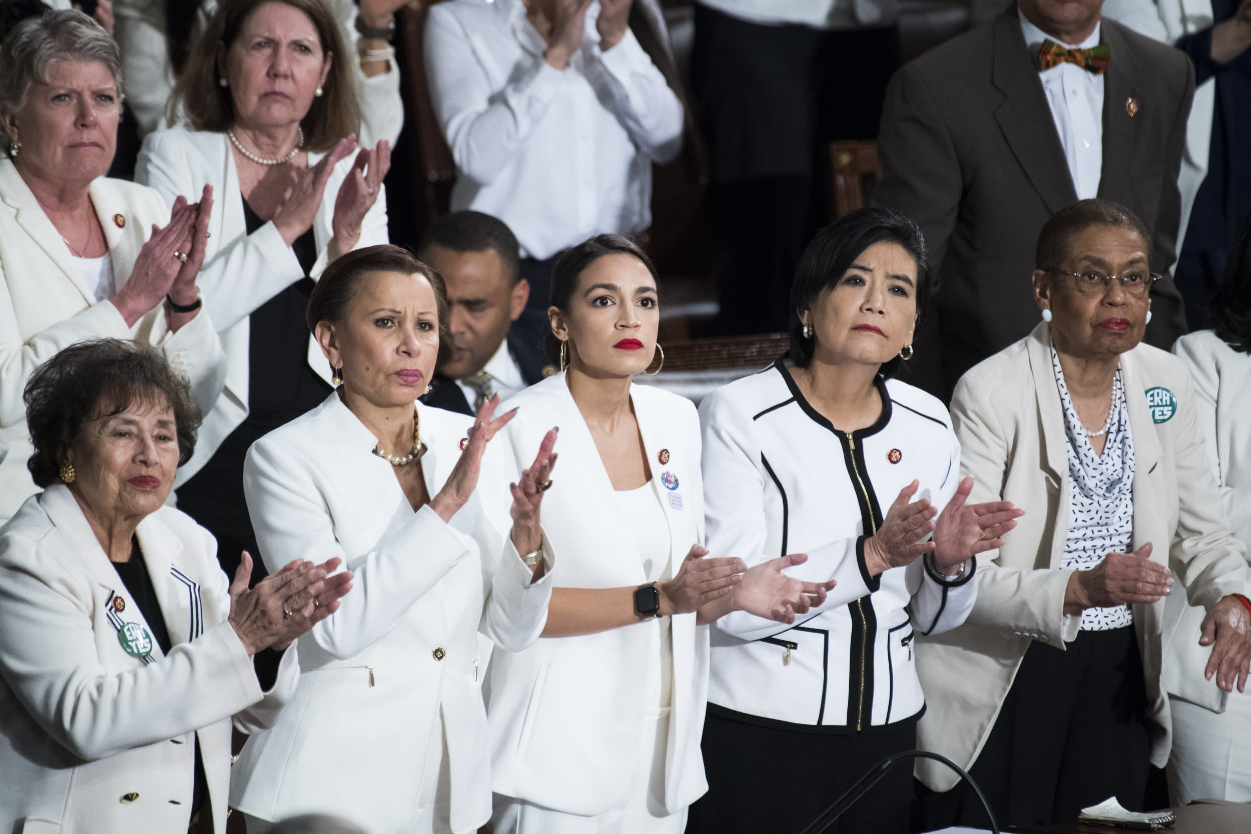 UNITED STATES - FEBRUARY 05: First row from left, Reps. Nita Lowey, D-N.Y., Nydia Velazquez, D-N.Y., Alexandria Ocasio-Cortez, D-N.Y., Judy Chu, D-Calif., and Del. Eleanor Holmes Norton, D-D.C., are seen in the House Chamber as President Donald Trump delivered his State of the Union address on Tuesday, February 5, 2019. (Photo By Tom Williams/CQ Roll Call)