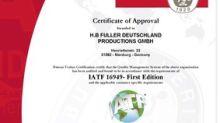 H.B. Fuller's facility awarded IATF 16949 compliance