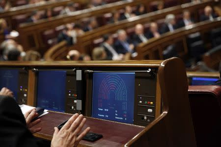 The screen of a congressman shows the result of the vote on the new security law at Spain's Parliament in Madrid