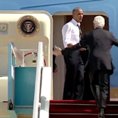 'I GOTTA GET HOME': Watch Obama urge Bill Clinton to hurry up and get on Air Force One