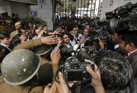 Lawyers shout slogans during a protest outside the Patiala House court in New Delhi