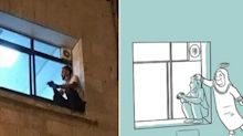 Mamma ha il Covid, figlio sul muro dell'ospedale tutte le sere