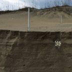 Erosion from Hurricane Dorian slices up beach sand, reveals sea turtle nest on Hatteras Island