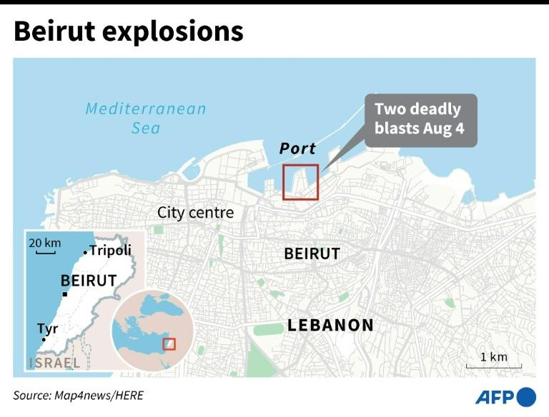 Map of Lebanon's capital Beirut locating the area of two deadly explosions on Tuesday in the port area. (AFP Photo/)