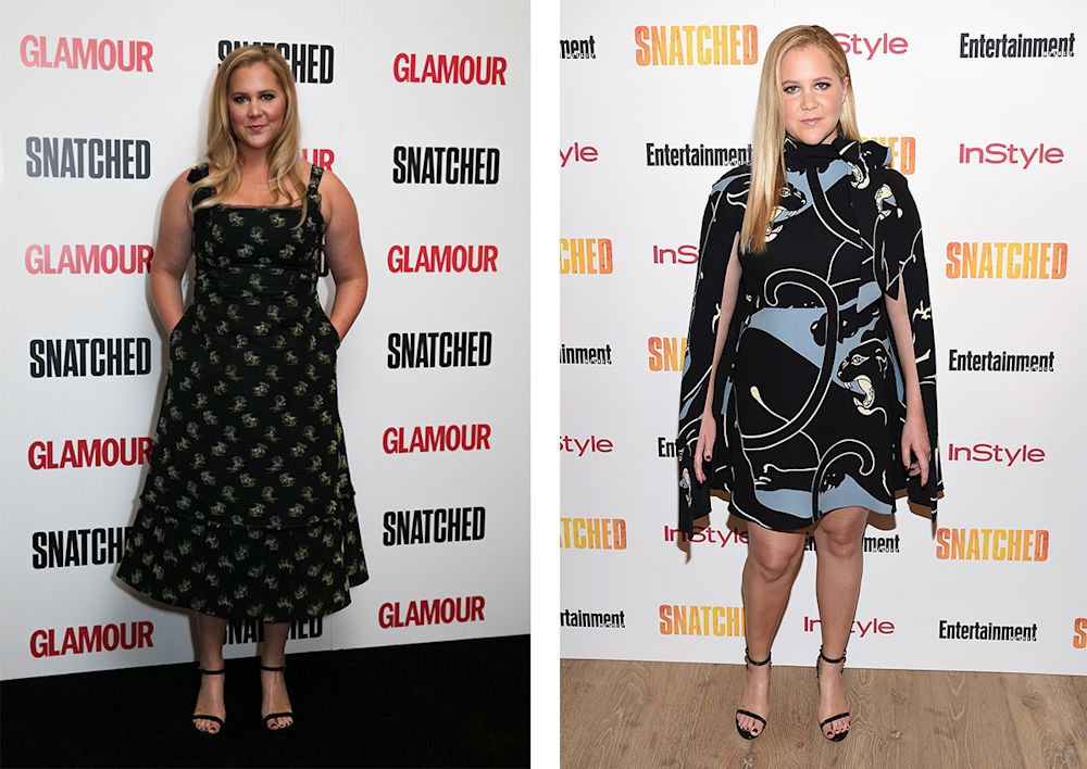 Left to right: Amy Schumer in Erdem; Amy Schumer in Valentino. (Photo: Getty Images)