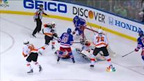Richards chips one by Mason on his backhand