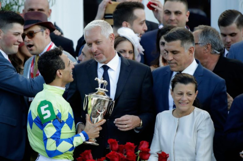 Trainer Todd Pletcher (C) celebrates with jockey John Velazquez (L) after Always Dreaming won the 143rd running of the Kentucky Derby. (Getty)
