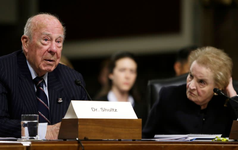 Former US Secretaries of State Shultz and Albright testify at Senate Armed Services hearings in Washington
