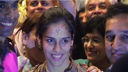 Olympic medal winner Saina Nehwal returns home
