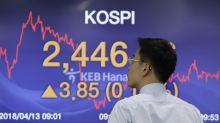 Global stocks mostly up as trade, Syria uncertainties ease