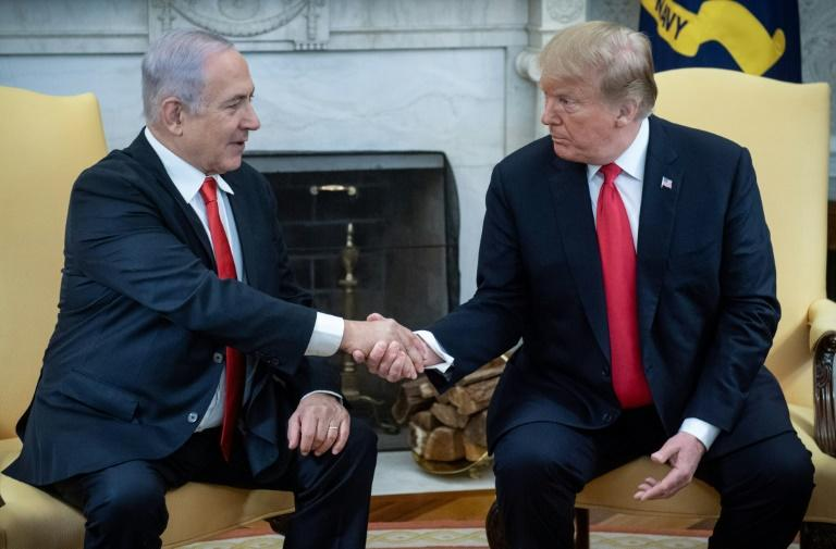 US President Donald Trump (left) and Israeli Prime Minister Benjamin Netanyahu, pictured at the White House on March 25, 2019, discussed 'shared national security interests'