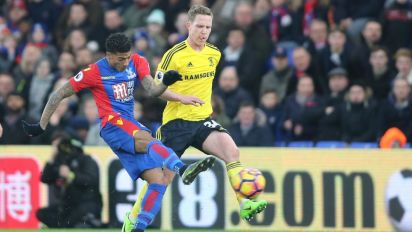 Crystal Palace out of drop zone after Patrick van Aanholt goal sinks Boro