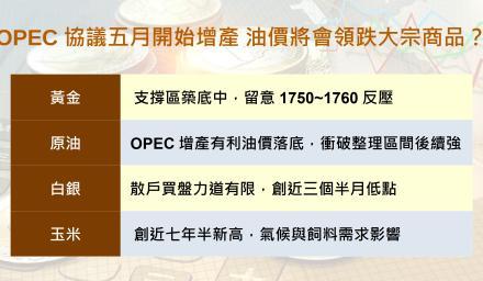 OPEC協議五月開始增產 油價將會領跌大宗商品?