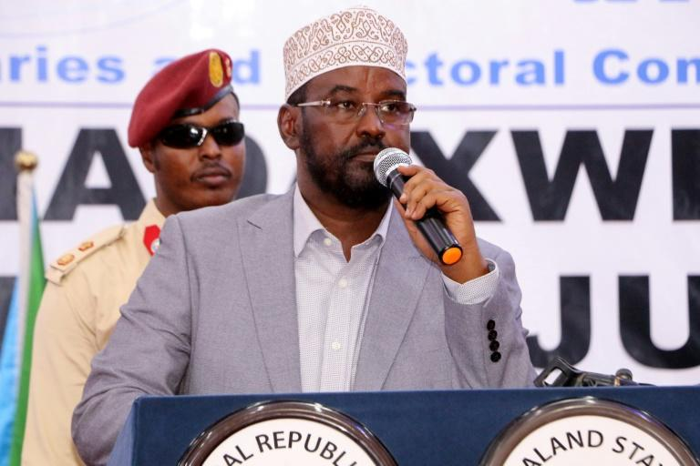 Jubaland incumbent leader Ahmed Madobe was named victor in the regional election but his rival also claimed victory (AFP Photo/Abdirazak Hussein FARAH)