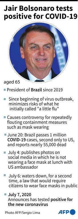 Profile of Brazilian president Jair Bolsonaro, who tested postive for the new coronavirus (AFP Photo/Nicolas RAMALLO)
